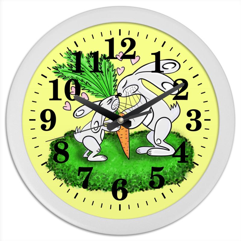 Часы круглые из пластика Printio Зайчишки с морковкой часы круглые из пластика printio день победы