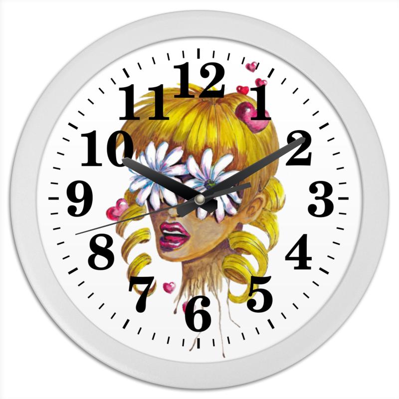 Часы круглые из пластика Printio Без ума от цветов