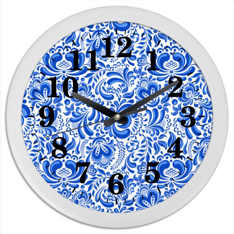 Часы круглые из пластика Printio Гжель