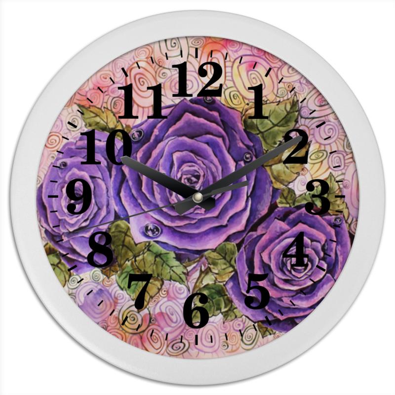 Часы круглые из пластика Printio Сиреневые розы