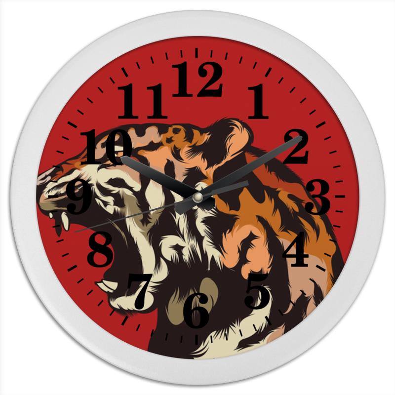 Часы круглые из пластика Printio Тигр арт