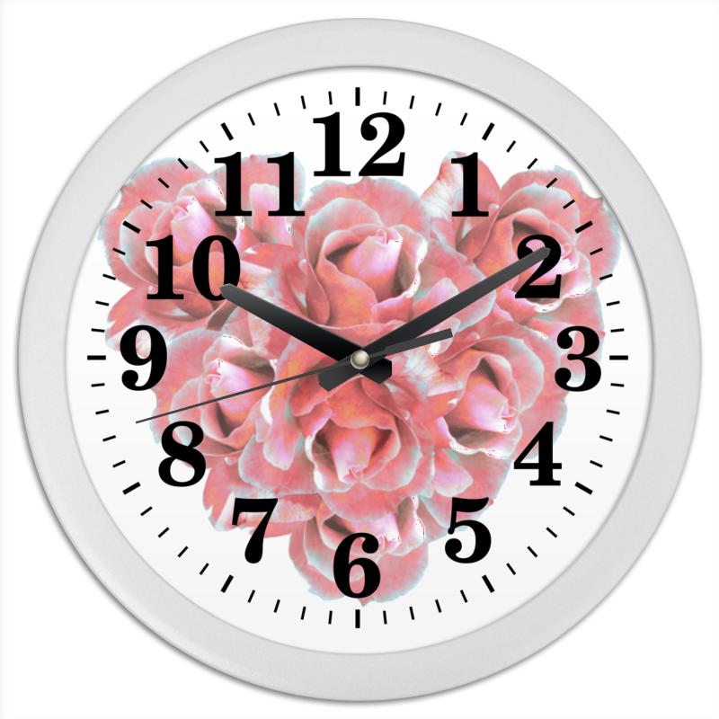 Часы круглые из пластика Printio Розовые розы