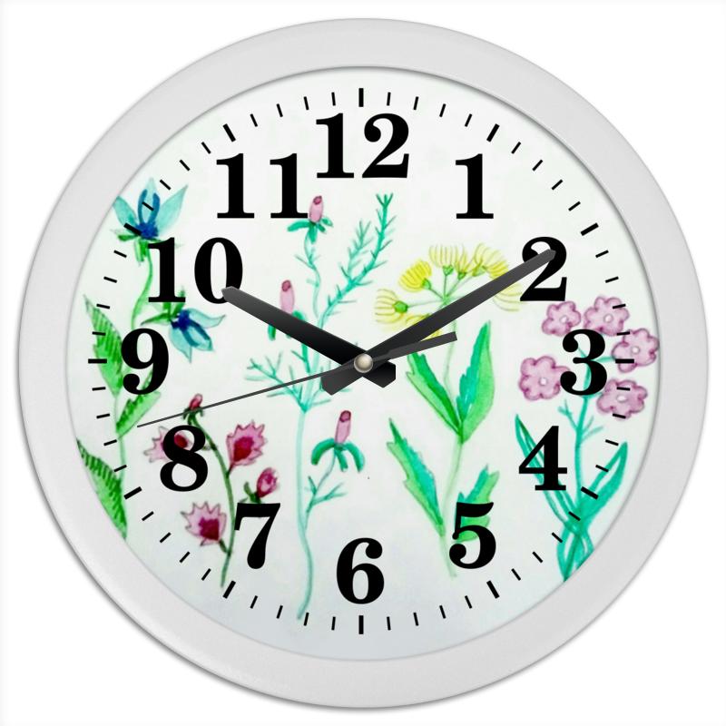 Часы круглые из пластика Printio Часы луговые цветы ваза луговые маки