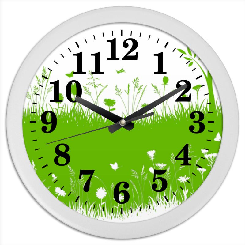 все цены на Часы круглые из пластика Printio Летняя трава онлайн