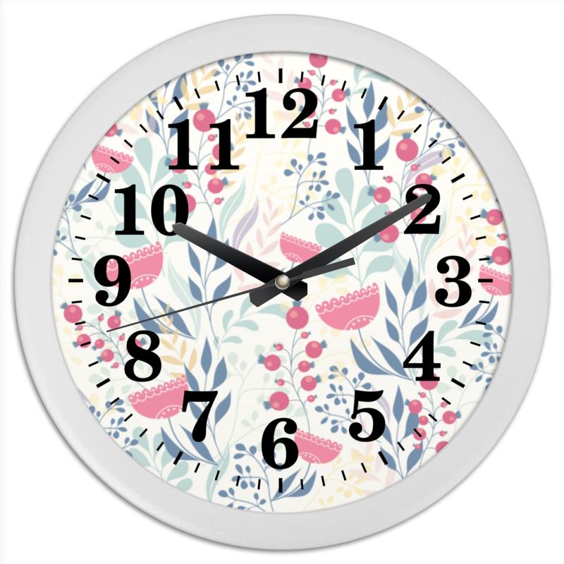 Часы круглые из пластика Printio Цветочная ягоды карелии земляника протертая с сахаром 280 гр