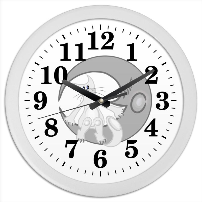 Часы круглые из пластика Printio Лунный кот сидит на луне цены