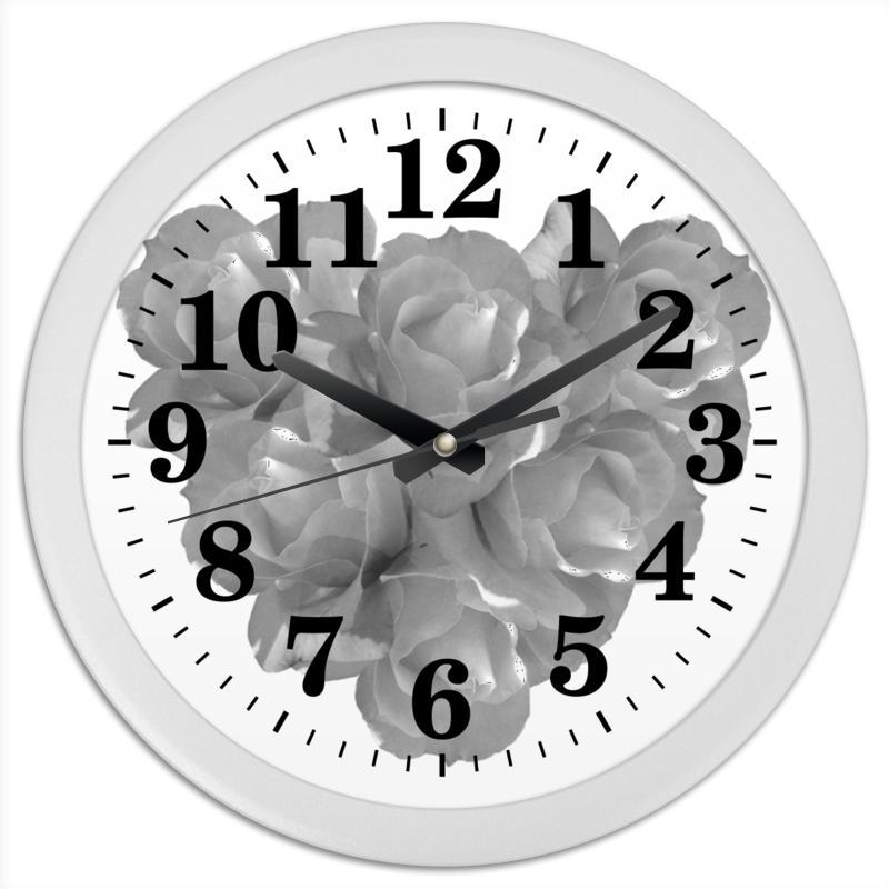 Часы круглые из пластика Printio Сердечко из роз