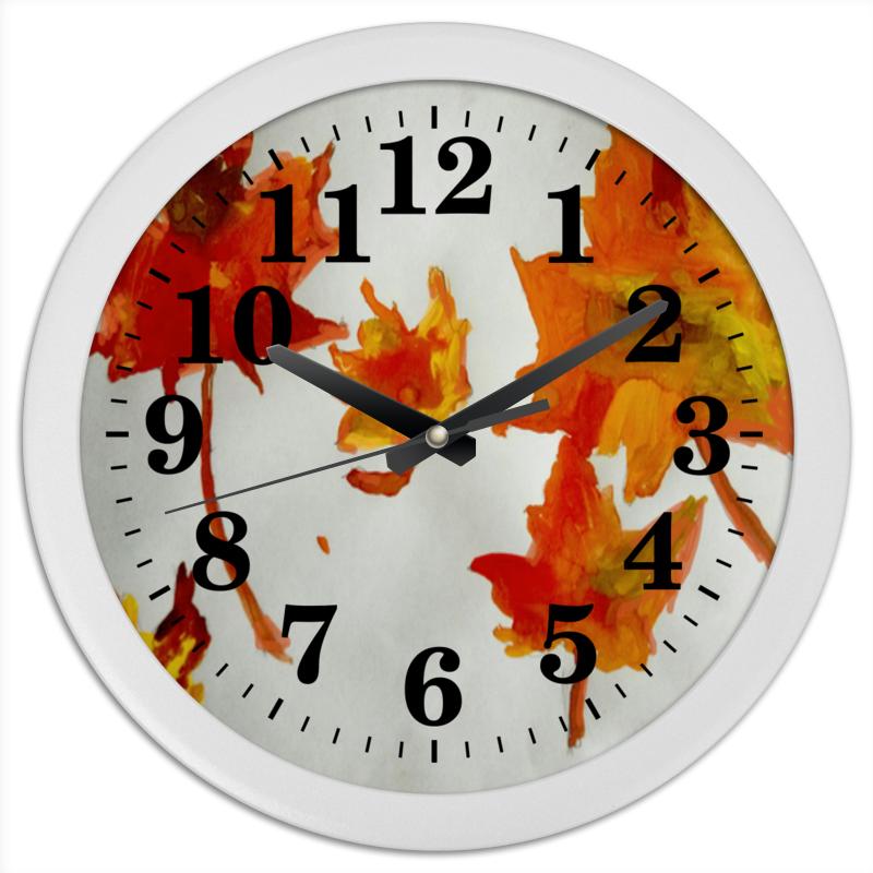 Часы круглые из пластика Printio Осенние листья длинные осенние кaрдигaны
