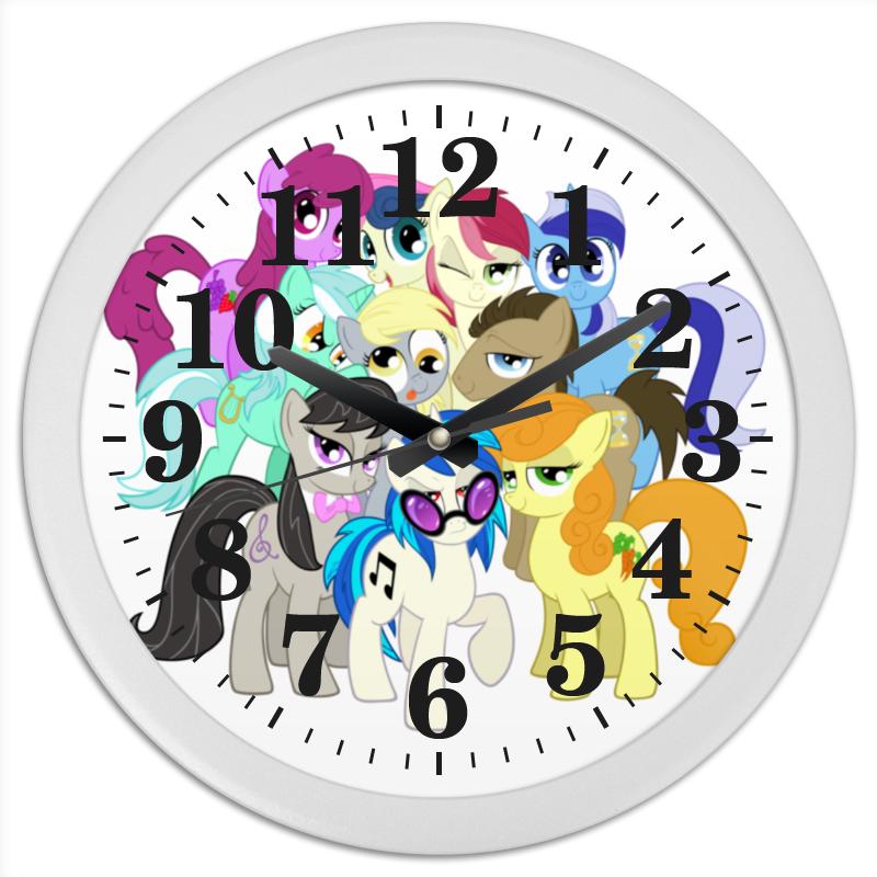 Часы круглые из пластика Printio Pony time