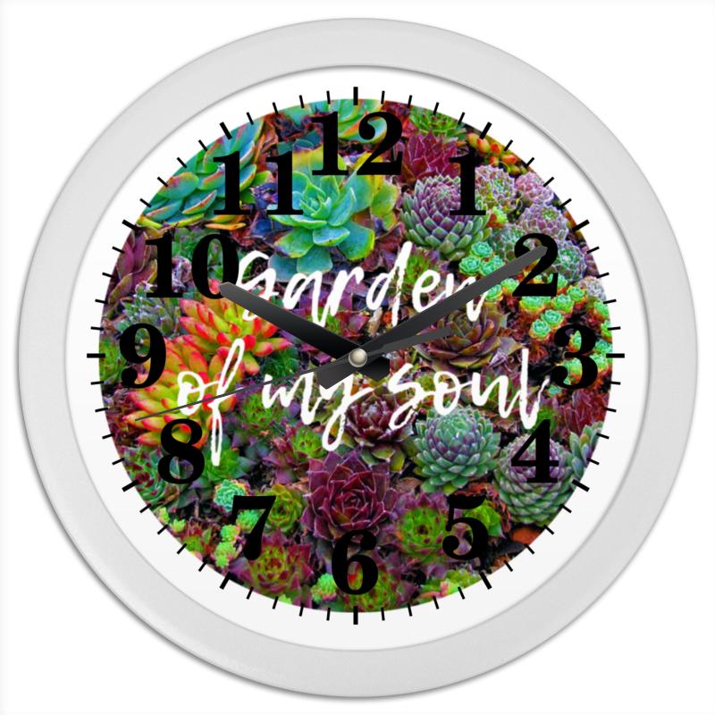 Часы круглые из пластика Printio Суккуленты брошь из кошачьего глаза лэмпворка хрусталя нефрита и пластика яркое лето