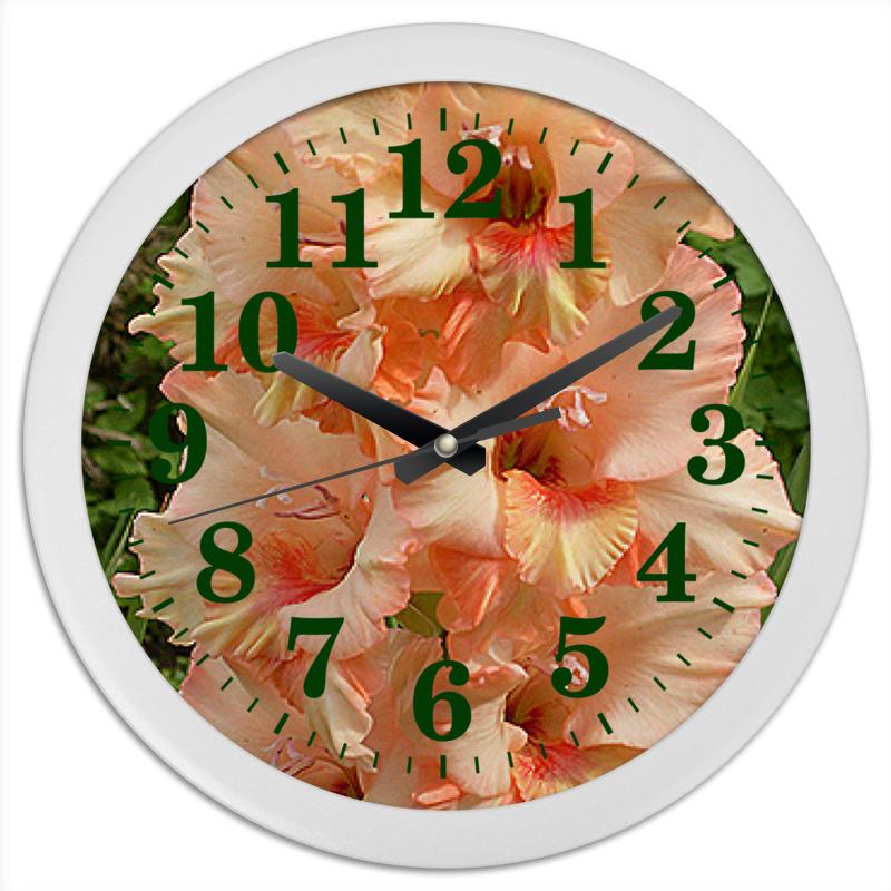 цена Часы круглые из пластика Printio Цветочные стрелки.