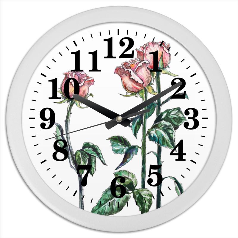 Часы круглые из пластика Printio Розы розовые чешки розовые