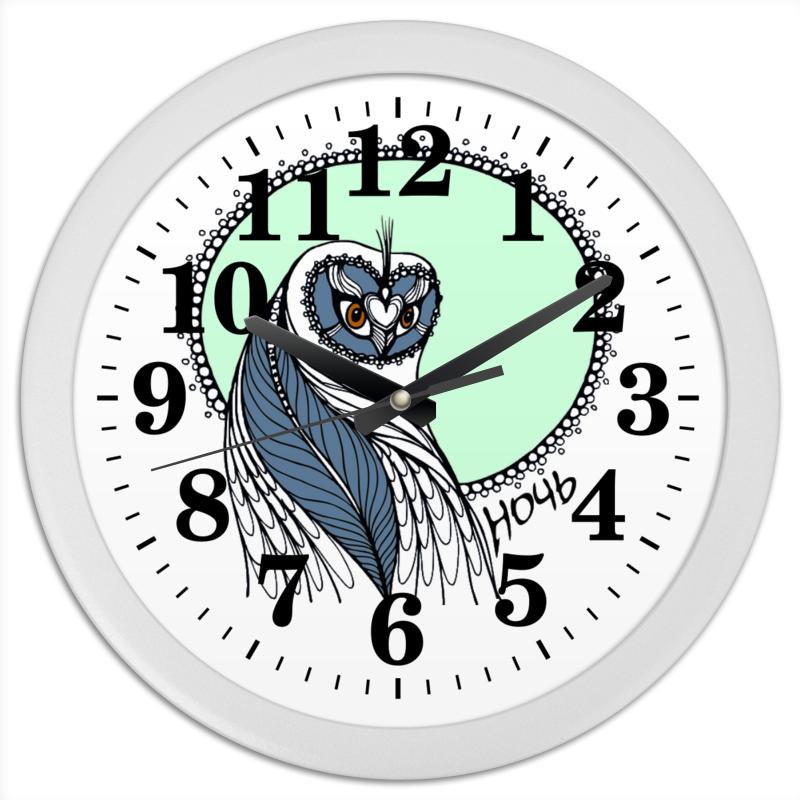 Часы круглые из пластика Printio совушка