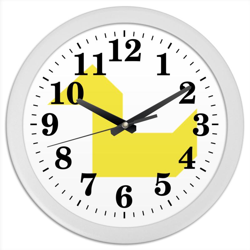 Часы круглые из пластика Printio Жёлтая утка танграм