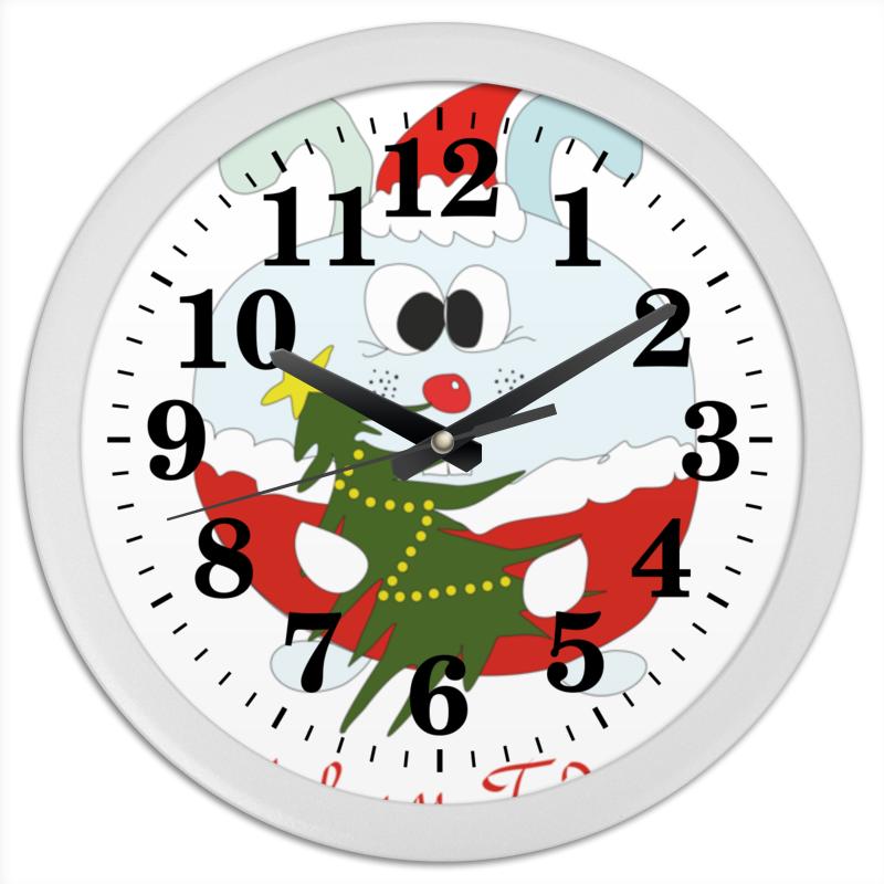 цены на Часы круглые из пластика Printio Новогодний заяц