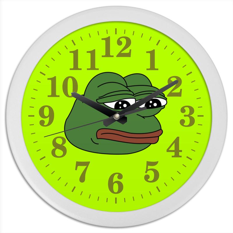 где купить Часы круглые из пластика Printio Грустная лягушка по лучшей цене
