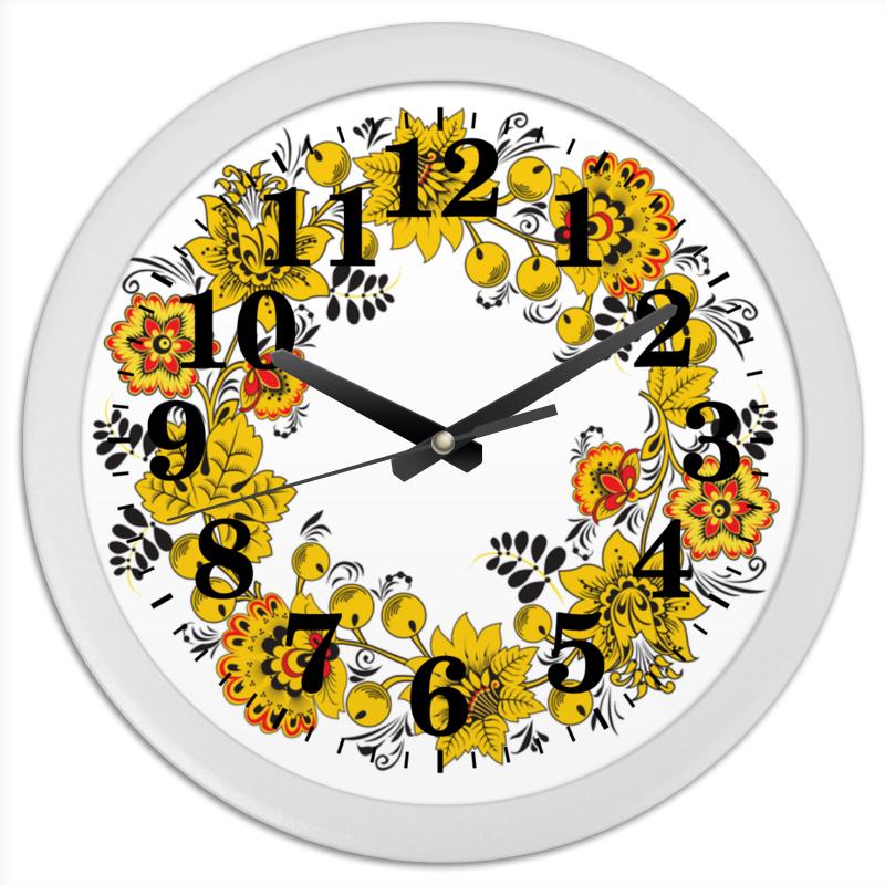 Фото Часы круглые из пластика Printio Русский орнамент