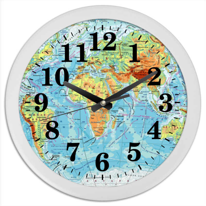 Часы круглые из пластика Printio Карта мира все цены