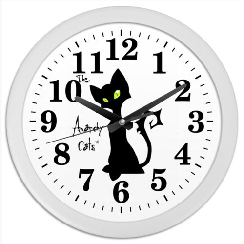 """Часы круглые из пластика """"Кот-анархист"""" - кот, юмор, рисунок, графика, анархист"""