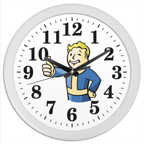"""Часы круглые из пластика """"Fallout Vault Boy"""" - классный, прикольный, fallout, fall out, vaultboy"""