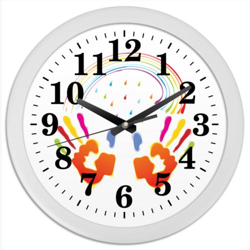"""Часы круглые из пластика """"Миру Мир!"""" - любовь, мир, дружба, доброта"""