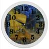 """Часы круглые из пластика """"Ночная терраса кафе ( Винсент Ван Гог)"""" - картина, ван гог, живопись"""