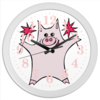 """Часы круглые из пластика """"Розовый поросёнок с бенгальскими огнями"""" - арт, счастье, свин, розовый поросенок, бенгальский огонь"""