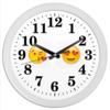 """Часы круглые из пластика """"Сма́йлик """" - сердце, любовь, love is, романтика, смайлик"""