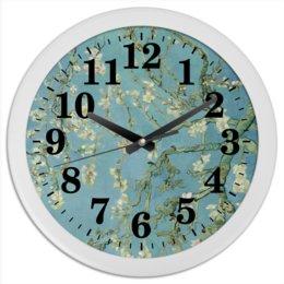 "Часы круглые из пластика ""Цветы миндаля (Ван Гог)"" - картина, ван гог"