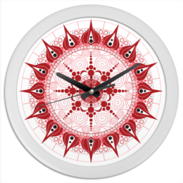 "Часы круглые из пластика ""Мандала страсти"" - арт, графика, иллюстрация, мандала"