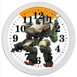 "Часы круглые из пластика ""Overwatch Bastion / Овервотч Бастион"" - видеоигры, overwatch, овервотч, bastion, бастион"