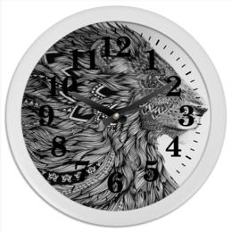 """Часы круглые из пластика """"Proud Lion"""" - стиль, лев, сила, природа и животные"""
