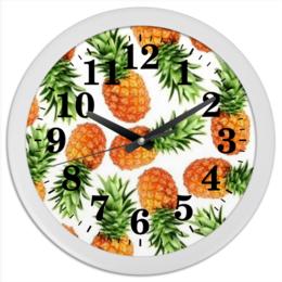 """Часы круглые из пластика """"ананас"""" - ананасы"""