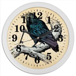 "Часы круглые из пластика ""птица ворон "" - птица, ворон, raven"