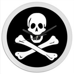 "Часы круглые из пластика """"Весёлый Роджер - Jolly Roger"""" - череп, пираты, jolly roger, пиратский флаг, весёлый роджер"