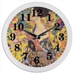 """Часы круглые из пластика """"Дама с веером (Густав Климт)"""" - картина, климт"""