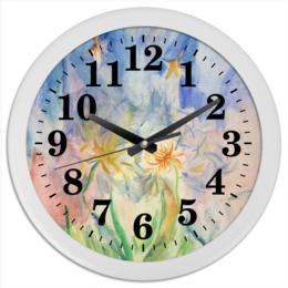 """Часы круглые из пластика """"Часы """"Watercolor"""""""" - цветы, дизайн, акварель, watercolor"""