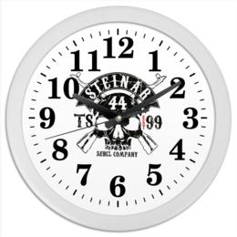 "Часы круглые из пластика ""Thor Steinar Brand"" - череп, бренд, brand, тор штайнер, thor steinar"
