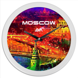"Часы круглые из пластика ""Moscow Love"" - москва, moscow, патриот, время"