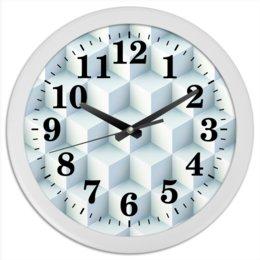 """Часы круглые из пластика """"Кубические"""" - абстракция, куб, текстура, квадратный, иллюзия"""