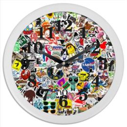 """Часы круглые из пластика """"sticker bombing"""" - jdm, оригинально, japan, sticker, sticker bombing, bombing"""