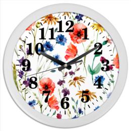 """Часы круглые из пластика """"Полевые цветы"""" - цветы, природа, полевые цветы"""
