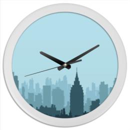 """Часы круглые из пластика """"Город"""" - город, ночь, природа, ландшафт"""