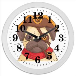 "Часы круглые из пластика ""Мопс-пират"" - мопс, пират, собака, пиратский, разбойник"