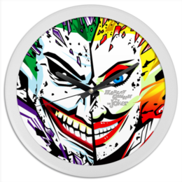 "Часы круглые из пластика ""Harley Quinn & The Joker"" - джокер, харли квинн, dc комиксы, отряд самоубийц, суперзлодеи"