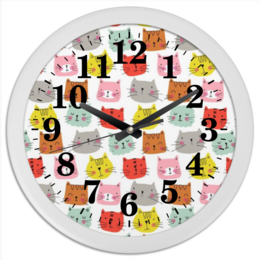 """Часы круглые из пластика """"cat art"""" - рисунок, кошки"""