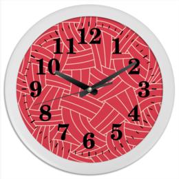 """Часы круглые из пластика """"Красная абстракция"""" - абстракция, ёлочка, паркет"""