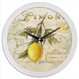 "Часы круглые из пластика ""Лемон "" - арт, еда, summer, lemon, прованс, лемон, provence"