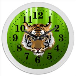 "Часы круглые из пластика ""Взгляд тигра"" - рисунок, взгляд, тигр, джунгли"