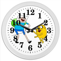 """Часы круглые из пластика """"Время приключений"""" - фин и джейк, время приключеий"""